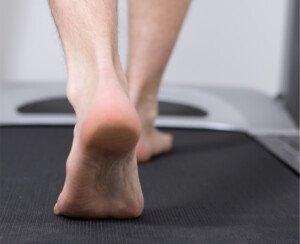 Barefoot Walking on a Treadmill Desk