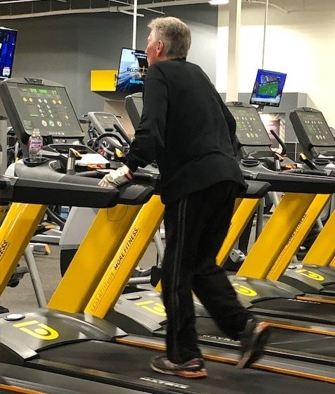 Senior Age People Walking on Treadmill Should NOT Hold On