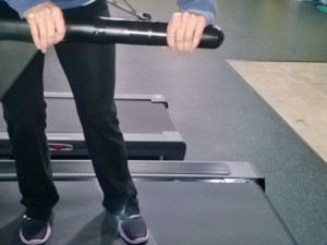 Sideways Walking on a Treadmill: Hands OFF the Rails!