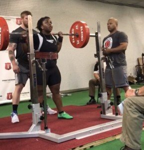 Ogechi Akalegabere about to squat in excess of 350 pounds.